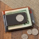 Personalized Two - Toned Leather Magnetic Money Clip Wallet
