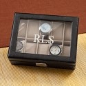 Personalized Men's Leather Watch Case - 3 initials