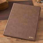 Personalize Mocha Portfolio with Notepad - Gold