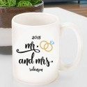 Personalized Mr. & Mrs. Wedding Ring Coffee Mug