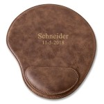 Personalized Rustic Faux Leather Mouse Pad - 2 lines