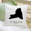 Personalized State Throw Pillow - Black