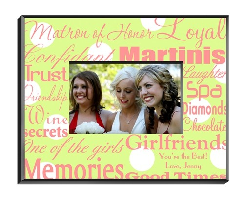 Personalized Matron Of Honor Frame Polka Dots On Green