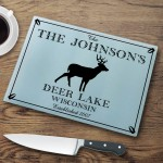 "Personalized ""Cabin"" Series Glass Cutting Boards - Stag Cutting Board"