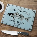 "Personalized ""Cabin"" Series Glass Cutting Boards - Walleye Cutting Board"