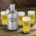 Personalized Stainless Steel Beer Growler with Pint Glass Set - Weizen
