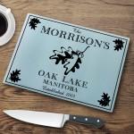"""Personalized """"Cabin"""" Series Glass Cutting Boards - White Oak Cutting Board"""