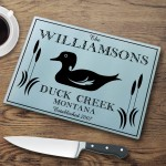 "Personalized ""Cabin"" Series Glass Cutting Boards - Wood Duck Cutting Board"