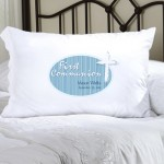 Personalized Blue Light of God First Communion Pillow Case