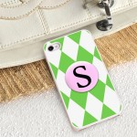 Personalized White Trimmed iPhone Case - Green Diamonds iPhone Case with White Trim