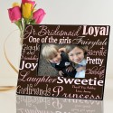 Personalized Junior Bridesmaid Frames - Pink on Brown
