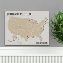 Personalized Heart at Home Family Travel Map