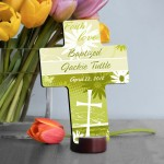 Personalized Baptismal Cross - Faith and Flowers