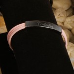 Inspirational Leather Bracelet with Engraved Cross - Pink Leather Inspirational Bracelet