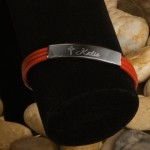 Inspirational Leather Bracelet with Engraved Cross - Red Leather Inspirational Bracelet