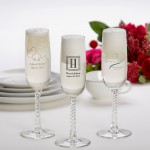 Printed Champagne Flute Wedding Favors - Set of 24