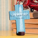 Personalized Baptismal Cross - Light of God - Blue