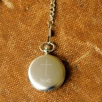Inspirational Pocket Watch with Engraved Cross - Brushed Inspirational Pocket Watch