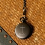 Inspirational Pocket Watch with Engraved Cross - Gunmetal Inspirational Pocket Watch