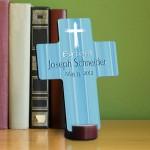 Personalized Baptismal Cross - Hear My Prayer - Blue