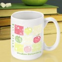 Personalized Teacher Coffee Mugs - Patchwork Apples Teacher Coffee Mug