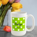 Personalized Polka Dots Coffee Mug - Green Apple Polka Dot Coffee Mug