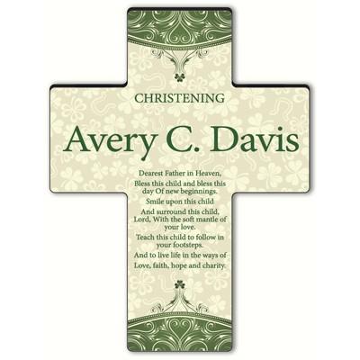 Personalized Classic Irish Cross - Blessing 4 - Gaelic Christening Blessing