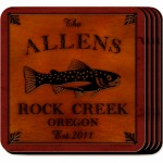 Cabin Series Coaster Set - Trout Coaster Set
