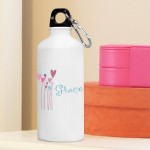 Personalized Hearts and Flowers Water Bottle