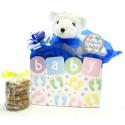 Baby Boy Teddy Bear Cookie Bouquet- 6 or 12 Gourmet Cookies