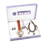 Artist Silver 4-piece Watch-Bracelet-Necklace-Earrings Jewelry Set